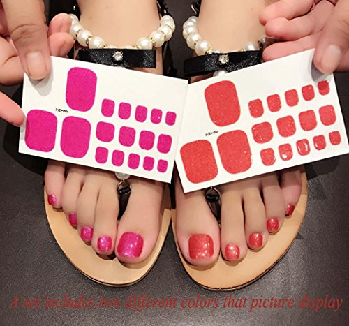 QCBC Full Nail Toes Stickers,Gradient color Style 20 Decals/sheet (Pack of 2 Sheets) 3
