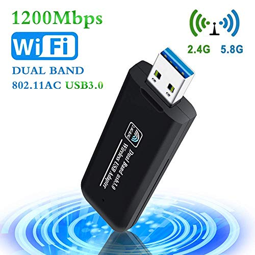 PiAEK Adattatore WiFi USB 1200Mbps 802.11AC Dual Band 2.4GHz/5.8GHz USB 3.0 Dongle WiFi Supporta per PC Laptop Compatibile Windows7/8/10/Vista/Mac OS X/Linux