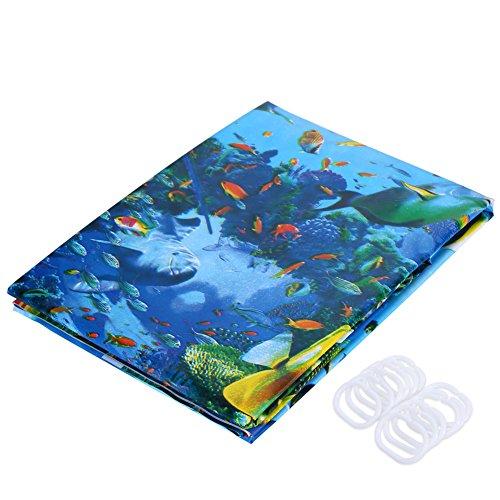 Lanlan Multicolor Dolphin Muster Tropische Fische Coral Ocean Design Bad Duschvorhang mit 12Haken Ocean Bad-accessoires