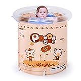 Ren Chang Jia Shi Pin Firm Aufblasbare Badewannen-Falt-Badewanne Tragbare Badewanne Kunststoff-Badewanne Whirlpool Whirlpool-Familie Badewanne (Color : Brown, Size : 80*80cm)
