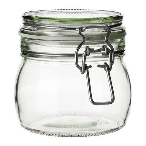Ikea Korken - Barattolo con coperchio, in vetro trasparente, 0,5 l
