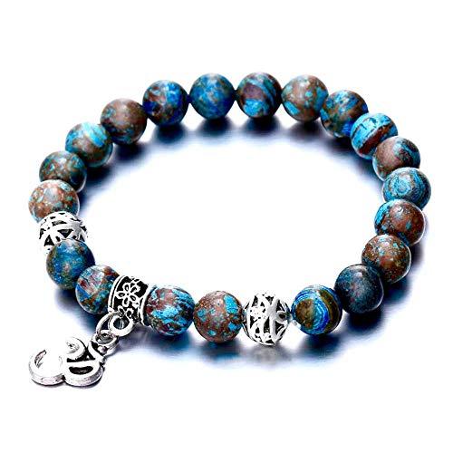 Lilloubella Armband Om Yoga Meditation mit Natursteinen, Echtes Yoga-Armband, buddhistisch, Lava-Heilung, für Damen & Herren