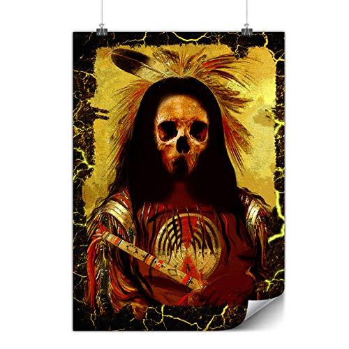 Wellcoda indisch Skelett Alt Schädel Plakat Kostüm A0 (119cm x 84cm) Glänzend schweres Papier, Ideal für die Gestaltung, Einfach zu hängen - Kostüm Von Indischen Staaten
