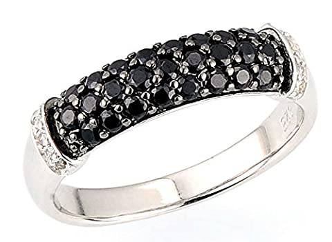 SaySure - Silver Rings for Woman Black Spinel Cubic Zirconia (SIZE : 8)