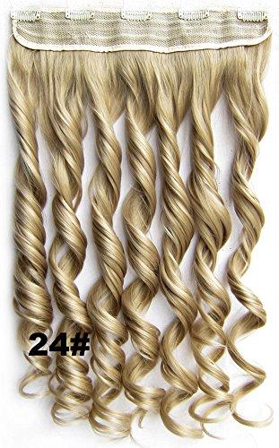 Meiya 61 cm 130 g pour femme New Fashion Long ondulés synthétiques Tête complète Clip dans les cheveux extension de cheveux pour cosplay ou de Noël