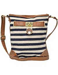 MWS Small Nautical Stripe Crossbody, Cotton Canvas & Faux Leather Sling Bag
