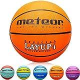 meteor Kinder Basketball Layup Größe #4 Jugend Basketball ideal auf die Kinder-hände 5-10 Jahre idealer Mini Basketball für Ausbildung weicher Outdoor mit griffiger Oberfläche (Größe #4, Orange)