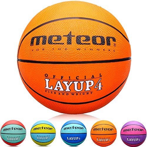 meteor® Kinder Basketball Layup Größe #4 Jugend Basketball ideal auf die Kinder-hände 5-10 Jahre idealer Mini Basketball für Ausbildung weicher Outdoor mit griffiger Oberfläche (Größe #4, Orange)