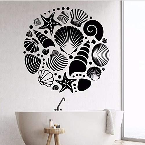 Mariposa Shell (Lvabc 42X42Cm Bad Dekoration Marine Shell Wandaufkleber Shell Abnehmbare Vinyl Aufkleber Wohnkultur Bad Design Kunst Mural)