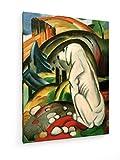 Franz Marc - der weiße Hund - Gemälde 1912-45x60 cm - Textil-Leinwandbild auf Keilrahmen - Wand-Bild - Kunst, Gemälde, Foto, Bild auf Leinwand - Alte Meister/Museum