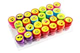Moore Kunst 26 Stück selbst Farbauftrag Emoji Kunststoff Stempeln mit Multi Color Bright Smiley Emoji Tinte Briefmarken, DIY Handwerk für Kinder, Party Geschenke Test