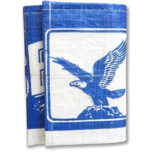 Upcycling Brieftasche 2-Fach faltbar aus recyceltem Zement-/Fischfutter-/Reissack, Farbe/Aufdruck:Adler Beige-Blau