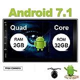 Eunavi Reproductor de Audio Estéreo de Radio GPS Universal de 2 DIN para Coche Android 7.1 2G RAM 32G ROM DE 7 Pulgadas en salpicadero de 2 DIN 1024 x 600 NO CD