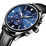 HRTJJT Men Automatic Mechanical Watch Leather Moon Phase Week Luminous Sports Watches,Two