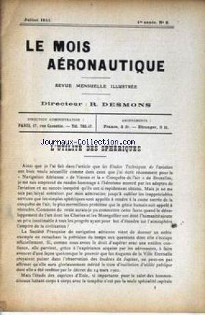 MOIS AERONAUTIQUE (LE) [No 2] du 01/07/1911 - L'UTILITE DES SPHERIQUES.