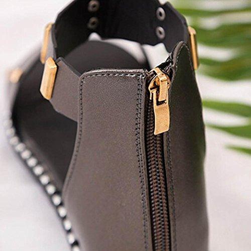 Transer® Damen Flach Ankle-strap Sandalen Grau Weiß PU-Leder+PU Römersandalen mit Reißverschluss Grau