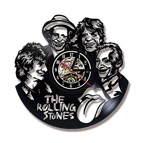 Color Rolling Band (Rjjrr Schallplatte Wanduhr Modernes Design Musikthema The Rolling Stone Band Hängeuhren Vintage Wanduhr Wohnkultur Stumm Wohnzimmer Dekor)