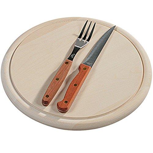 Kesper 56605 Fleischteller aus Birkenholz mit Steakbesteck, 25 cm