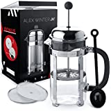 Alex Winter French Press Coffee Maker - Glass, Stainless Steel Press With Additional Top Filter, Spoon, 2 Extra Bonus Filters, 34 Oz, 1 Litre, Device - For The Coffee, Tea, Cacao, Berry Drinks