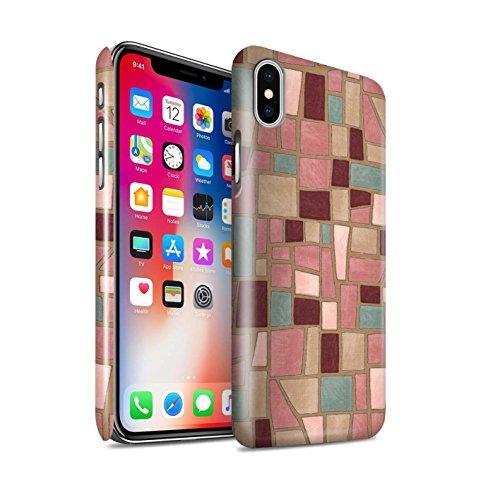 STUFF4 Glanz Snap-On Hülle / Case für Apple iPhone X/10 / Braun/Rot Muster / Mosaik Fliese Kollektion Rosa/Lila