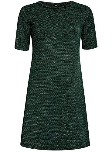 oodji Ultra Femme Robe en Maille avec Motifs Zigzags Vert (6929J)
