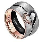 AnazoZ Ihr & Frauen für Real Love Herz Versprechen Ring Edelstahl Hochzeit Trauringe Bandringe 6MM US Größe 9