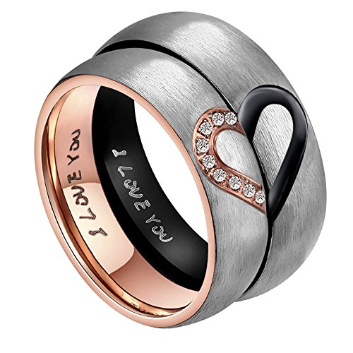 "His & Men's For ""Real Love"" Heart Promise Ring Stainless Steel Wedding Engagement Bands 6MM US Size 11"