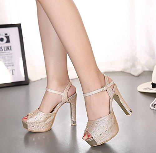 Pattini da cerimonia nuziale 13 cm Steletto Tacco 4 cm Piattaforma Peep Toe Fibbie Cinture di caviglia Taglia EU 34-40 Black