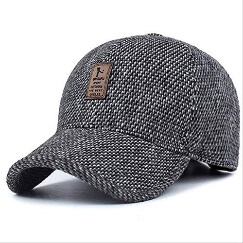 WENHAODJ Baseball Cap Winter Dad Hat Warme verdickte Baumwollkappen Gehörschutz ausgestattet Hüte für MännerGrau -