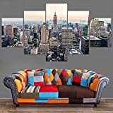 XLST HD Impreso Moderno Mural Póster 5 Piezas Manhattan Estados Unidos Nueva York Rascacielos Paisaje Horizonte Paisaje Urbano Pintura Decoración del hogar,A,30X40X230X60X230X80X1