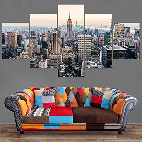 XLST HD gedruckt Modern Wandkunst Poster 5 Stück Manhattan Vereinigte Staaten von Amerika New York City Wolkenkratzer Landschaft Horizont Stadtbild Malerei Wohnkultur,A,30X40X230X60X230X80X1 -