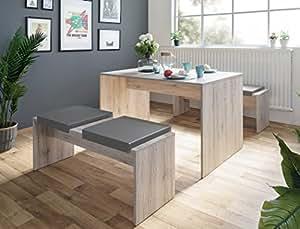 expendio Tischgruppe Potsdam Esstisch 2X Bank Eiche