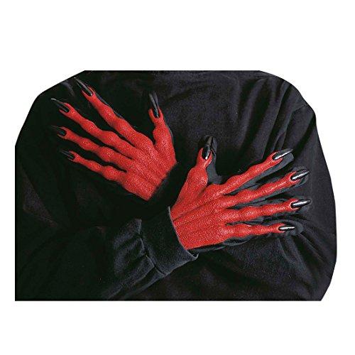 NET TOYS Halloween Teufelshände für Kostüm Teufel Hände Horror Teufelshand Halloween Handschuhe Teufelhandschuhe Horrorhände