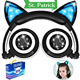 Kids Headphones, Wired Cat Ear Headphones,Foldable Cat Cosplay Earphone Over Ear Children's Headsets With Glowing Light, Girls/Boys/Young people Cute Headphones, 3.5mm Jack Devices (Y05- Blue)
