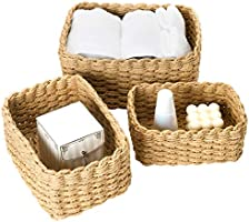 La Jolíe Muse Woven Storage Baskets, Recycled Paper Rope Bin Organizer Divider for Cupboards Drawer Closet Shelf...