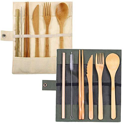 2 Juegos de Cubiertos de bambú Reutilizables, Cubiertos, Tenedores, Cuchillos, Palillos, cucharas, pajitas, cepillos, Bolsa de Tela con un Cepillo Limpio, para Viajes de Camping