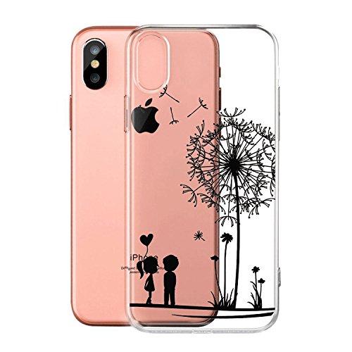 """Coque pour Apple iPhone X , IJIA Transparent Rose Fée Aux Fleurs Papillon TPU Doux Silicone Bumper Case Cover Shell Housse Etui pour Apple iPhone X (5.8"""") Q11"""