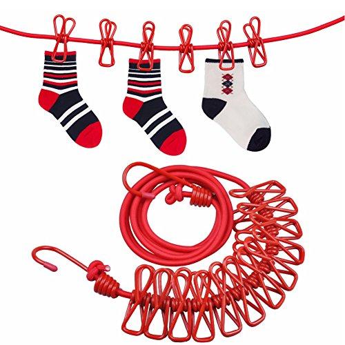 Wäscheleine, Bakicey 2 Stück Flexible Wäscheleine mit 12 beschichteten Klammern und Positionierung Schnalle,180 - 360cm für Outdoor Camping. (Rot)