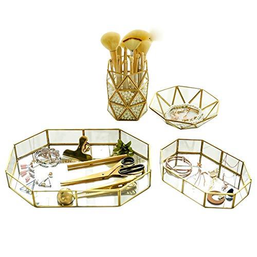 Leoboone Gugutogo Nordic Retro Brass Storage Tray Golden Polygon Glass Makeup Organizer Tray Dessert Plate Jewelry Display Home Kitchen Decor -