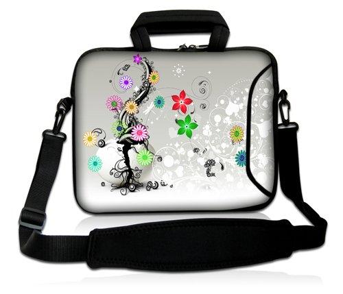 Luxburg® Design Laptoptasche Notebooktasche Sleeve mit Schultergurt und Fach für 17,3 Zoll, Motiv: Bunte Blumenranke