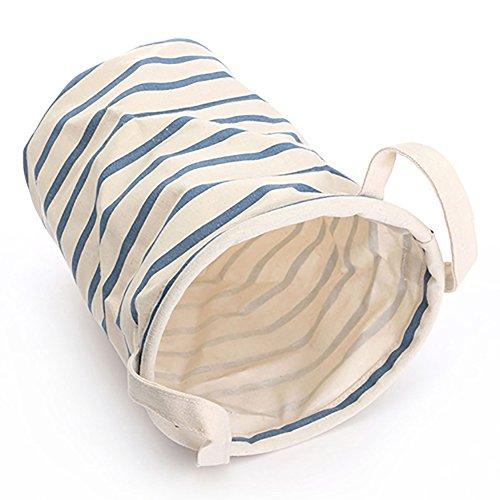 Borsa in cotone e lino lavaggio vestiti rotonda portabiancheria cesto portaoggetti pieghevole con manico, cotone lino, dark blue, medium