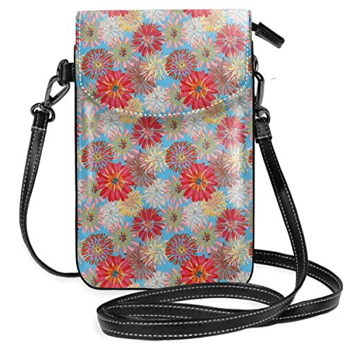 Women Small Cell Phone Purse Crossbody,Cheerful Floral Pattern With Large Dahlia And Chrysanthemum In Lively Pastel Colors - Dahlia Sham