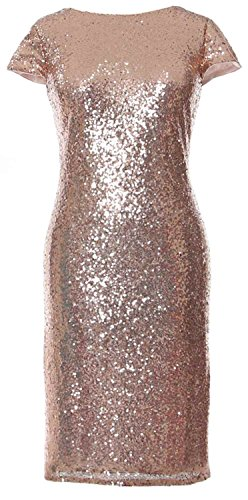 MACloth Elegant Cap Sleeves Short Bridesmaid Dress Sequin Wedding Formal Gown (44, Rose Gold)
