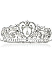 Tinksky Encantadora mujer Hairband boda nupcial corona pasadores para el pelo