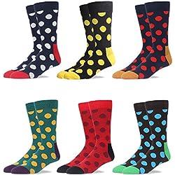 RioRiva Calcetines de colores envueltos para regalo para hombres en 90% algodón, bonito diseño en media pantorrilla, estilo colorido