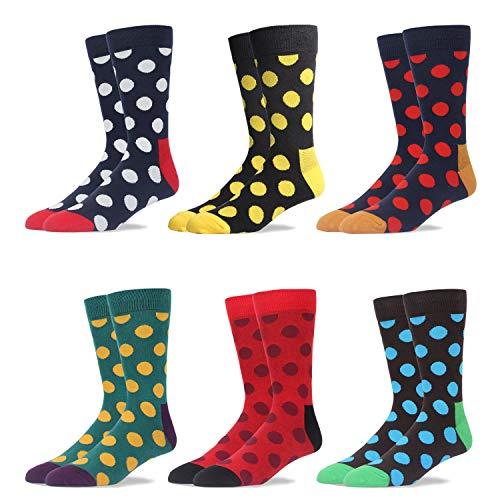 RioRiva Herrensocken Herren Socken Strumpf Businesssocken Beruf Anzug Freizeit Funny Gesreift Kariert Gepunktet Mehrfarbig Bunt (5 Paar Rundpunkt #27, EU 46-49 / UK 12-14)