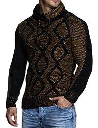 Tazzio 3992 - Jersey de punto grueso para hombre, con elegante cuello bufanda