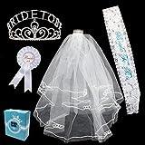 JOYIN Hen Do Decoración del partido Novia a Ser Bride Despedida de soltera Decoración 4pcs Velo de Novia Diadema Tiara Hen Do Party
