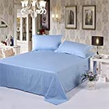 Satin Cotton Double Bed Plain Self-Striped Bedsheet With 2 Pillow Covers By Dazling Bazaar,Light Blue(King Size)