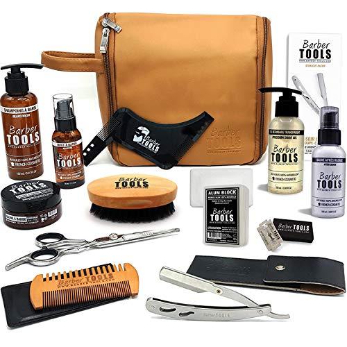 ✮ BARBER TOOLS ✮ Kit/Set/Coffret d'entretien et de soin pour barbe et rasage avec Soin de barbier | Cosmetique Made in France